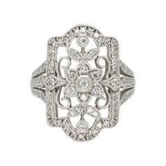 Victorian Style Filigree Ring with Diamond
