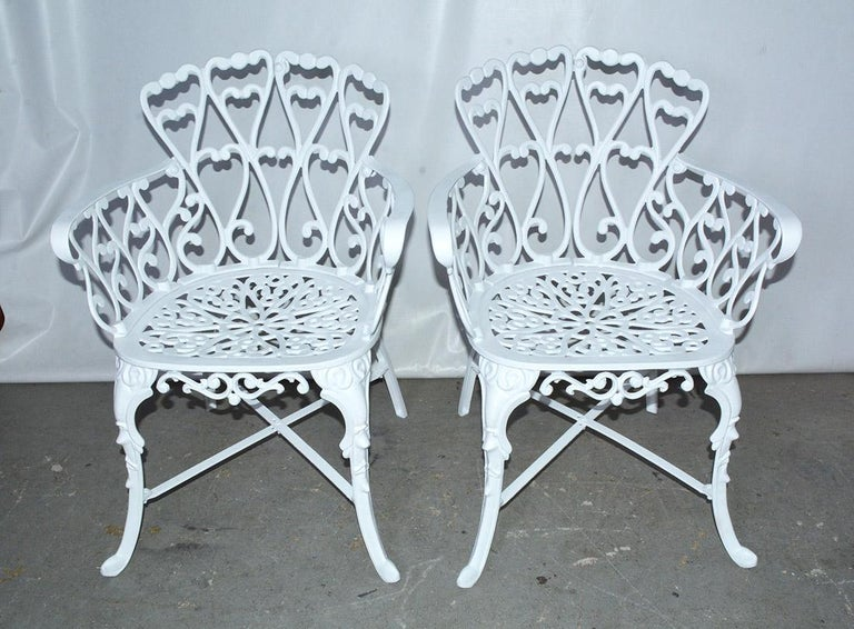 Cast Victorian Style Five-Piece Garden Dining Table and 4 Chairs For Sale