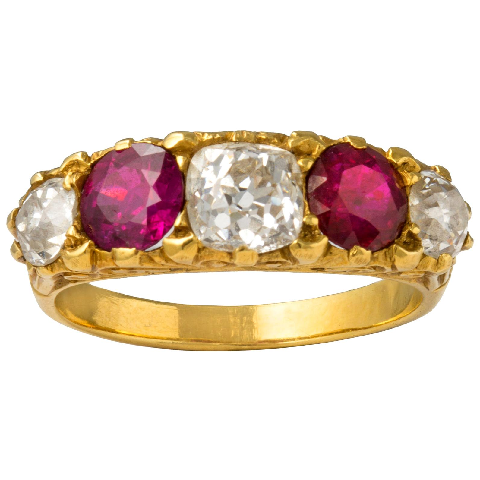 Victorian Style Five-Stone Ruby and Diamond Ring