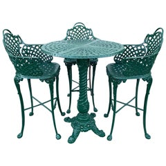 Victorian Style Garden/Patio Hightop Table and 3 Chairs, Provenance Celine Dion
