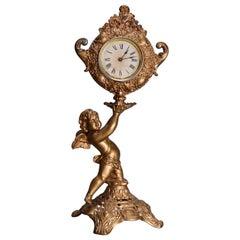 Victorian Style Gilt Metal Figural Classical Cherub Mantel Clock, 20th Century