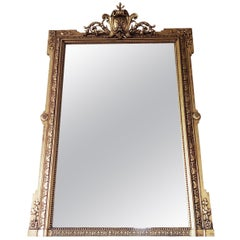 Victorian Style Giltwood and Composition Framed Overmantel Mirror, 1920s