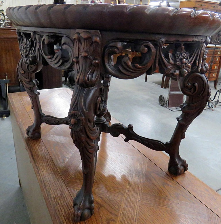 Victorian Style Glass Top Coffee Table For Sale 4