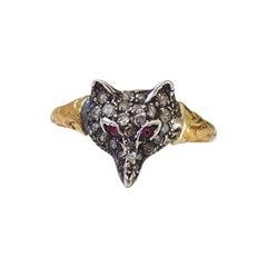 Victorian Style Gold Silver Diamond Fox Head Mask Ring