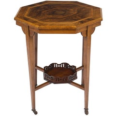 Victorian Style Inlaid Walnut Side End Table