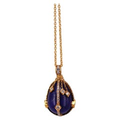 Victorian Style Lapis Lazuli and Diamond 18 Karat Gold Egg Pendant