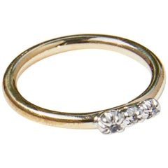 White Diamond Gold Ring Silver Victorian Style Fashion Ring J Dauphin