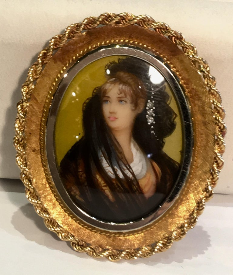 Round Cut Victorian Style Miniature Portrait Painting 18K Two Tone Gold Pendant Brooch  For Sale