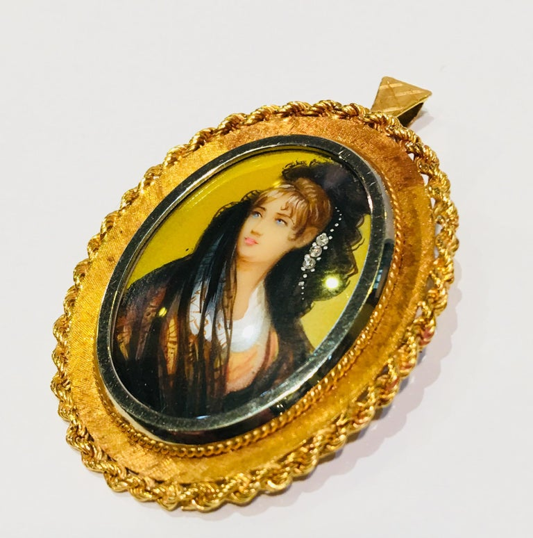 Victorian Style Miniature Portrait Painting 18K Two Tone Gold Pendant Brooch  For Sale 2