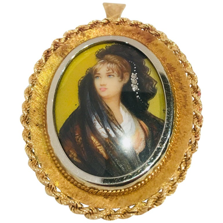 Victorian Style Miniature Portrait Painting 18K Two Tone Gold Pendant Brooch  For Sale