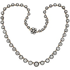 Victorian Style Mixed Metals 17.00 Total Carat Diamond Riviera Necklace