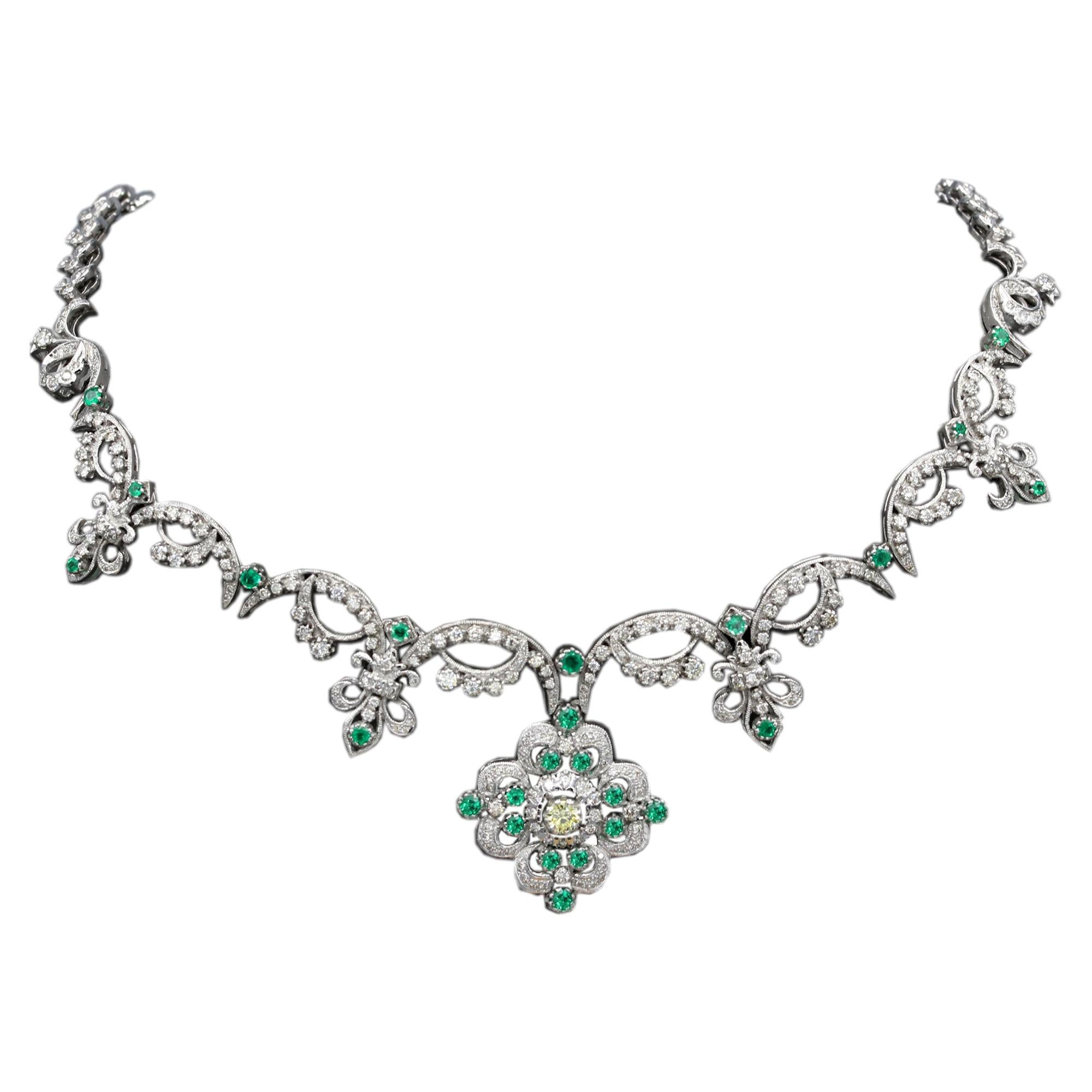 Victorian Style Necklace 18 Karat White Gold Diamonds and Emerald