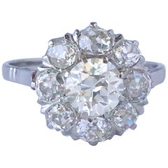 Victorian Style Old European Cut Diamond Platinum Cluster Ring