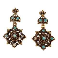Victorian Style Opal Gold Medallion Earrings