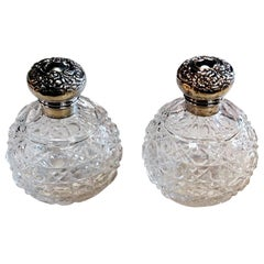 Victorian Style Pair of English Toilet Flasks Crystal Ground and Silver