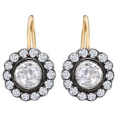 Victorian Style Rose Cut Diamond Drop Earrings