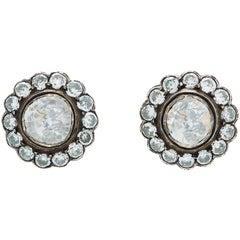 Victorian Style Rose Cut Diamond Earrings