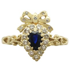 Victorian Style Sapphire and Diamond Yellow Gold Cocktail Ring