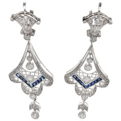 Victorian Style Sapphire Diamond Drop Earring 18 carat White Gold