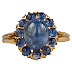 Victorian Style Sapphire Halo Ring 5.23 Carats Certified