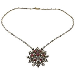 Victorian Style Silver and 18 Karat Yellow Gold Floral Ruby and Diamond Necklace