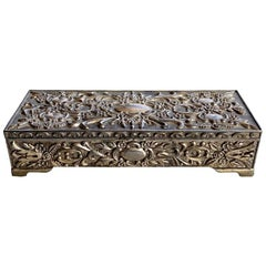 Victorian Style Silver Decorative Jewelry Box with Hinged Lid and Mirror