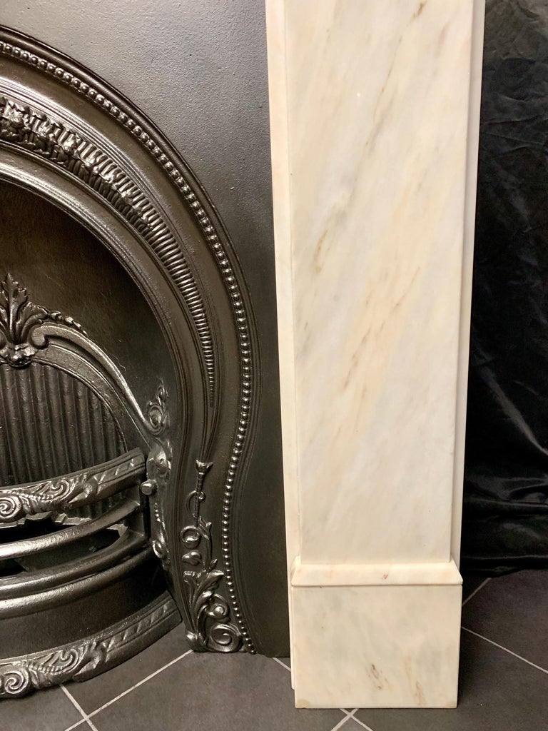 Polished Victorian Style Statuary Marble Fireplace Surround For Sale