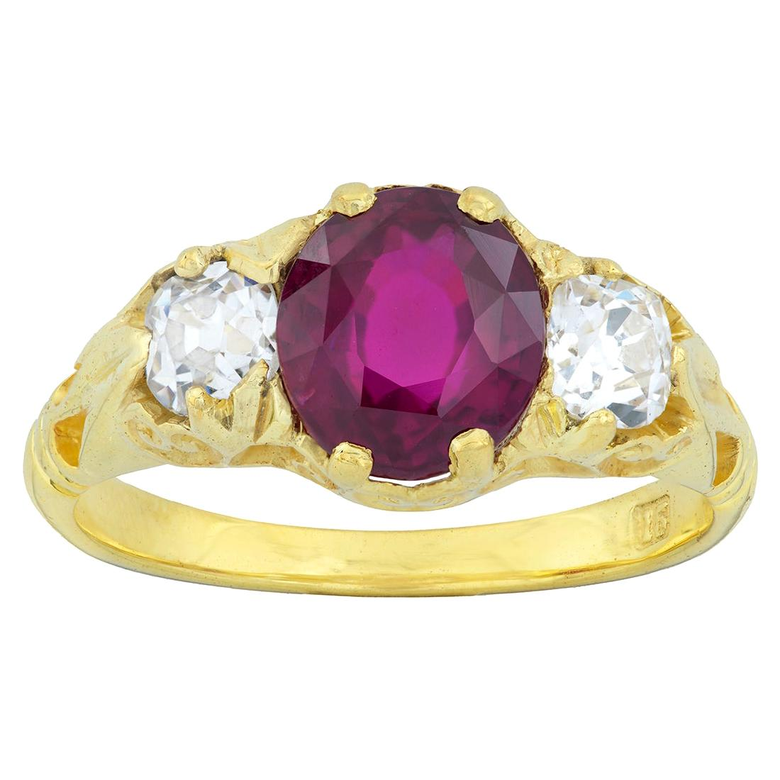 Victorian Style Three-Stone Ruby and Diamond Ring