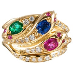 Victorian Style Triple Snake Ring with Gemstones