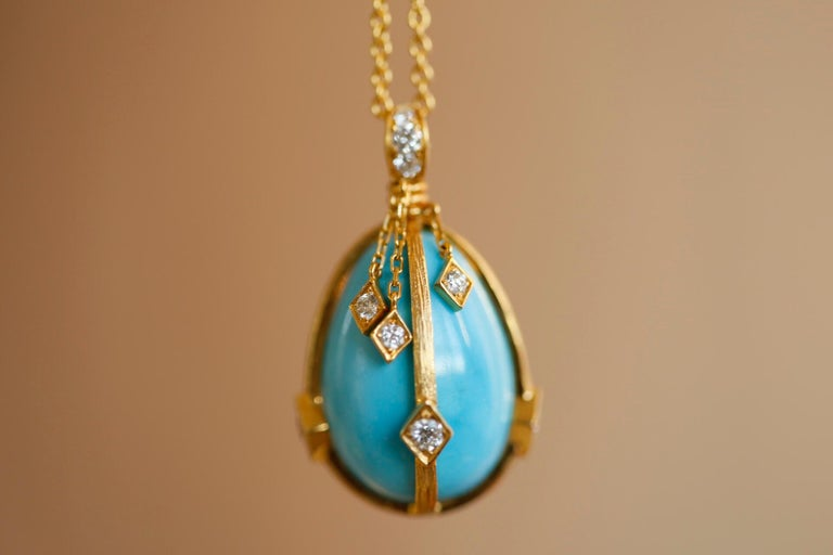 Women's or Men's Victorian Style Turquoise and Diamond 18 Karat Gold Egg Pendant For Sale