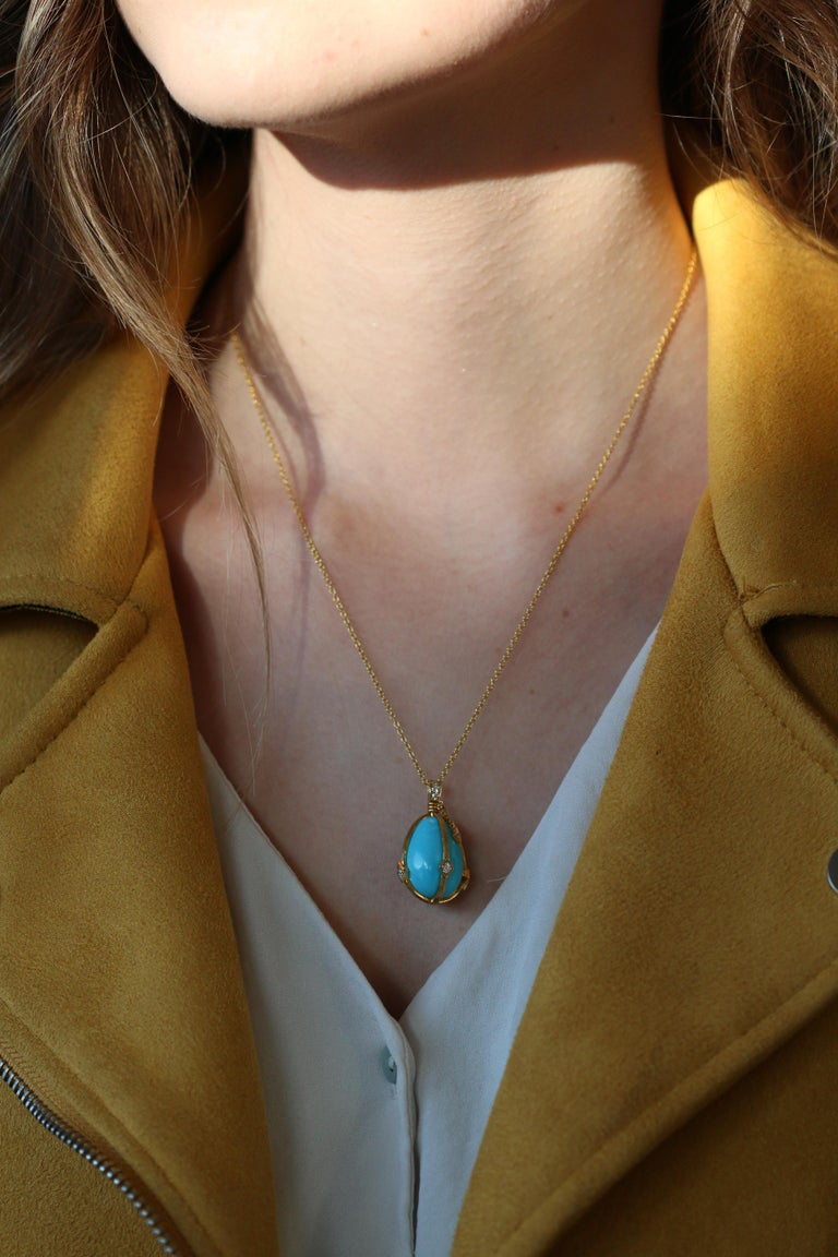 Victorian Style Turquoise and Diamond 18 Karat Gold Egg Pendant For Sale 2