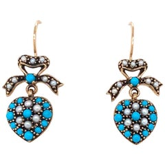 Victorian Style Turquoise Pearl Gold Heart Drop Earrings