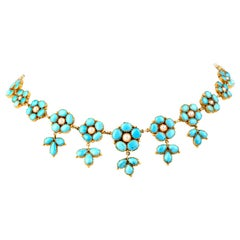 Victorian Style Turquoise Petals and Pearl 18 Karat Yellow Gold Choker Necklace