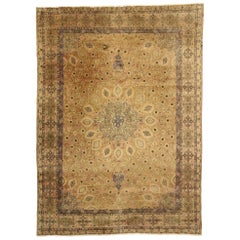 Victorian Style Vintage Persian Tabriz Area Rug with Round Star Medallion