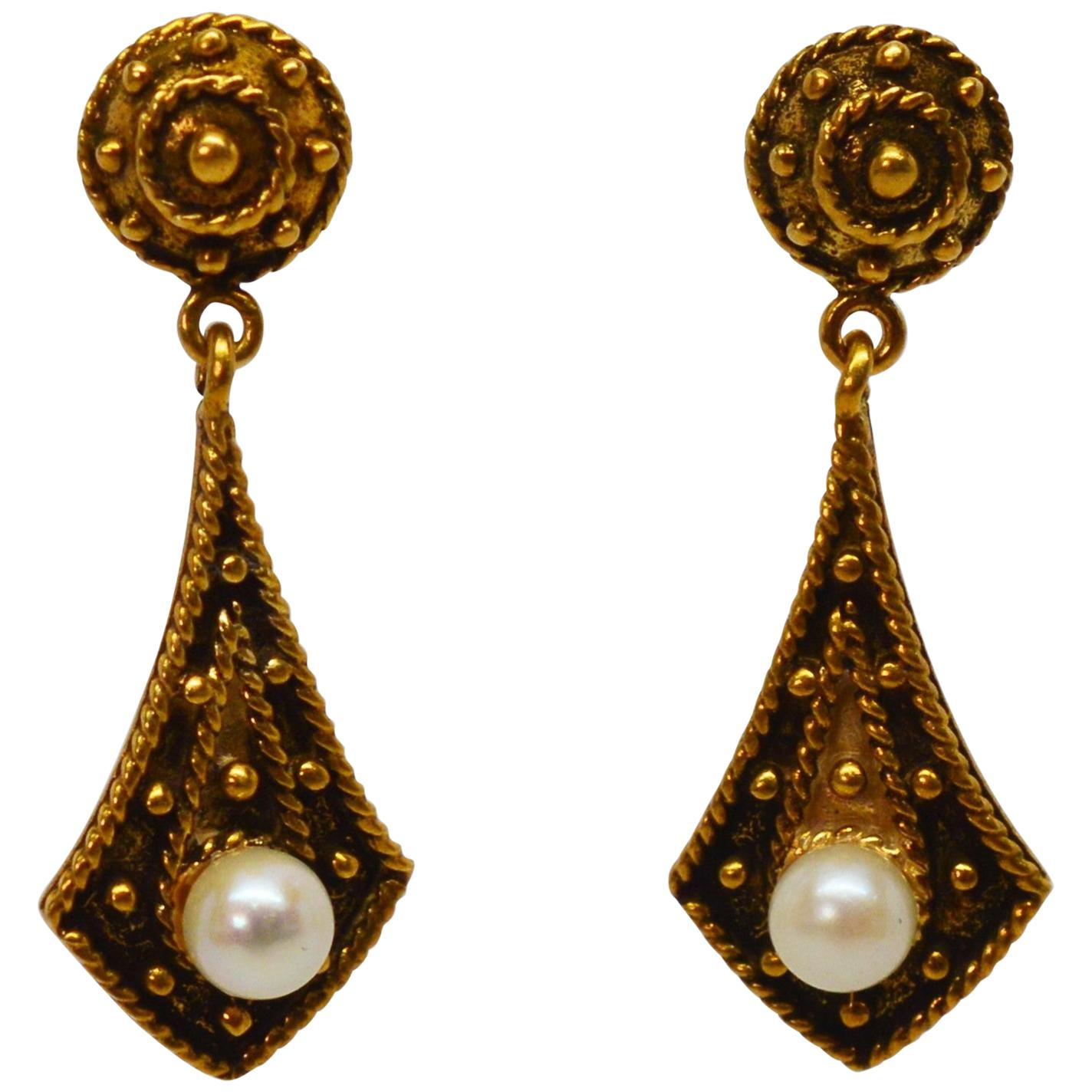 Victorian Style Yellow Gold Pearl Drop Earrings