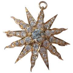 Victorian Sunburst Twelve-Rayed Star Sunburst Gold Diamond Brooch Pendant