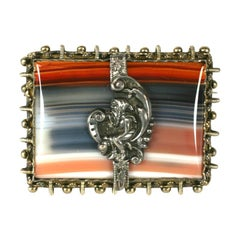 Victorian Swiss Agate Brooch, Black Forest