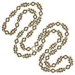 Victorian Swiss Enamel Open Link Chain Necklace