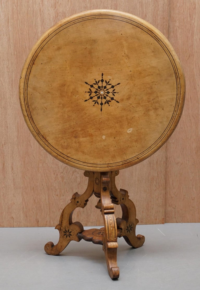 Victorian Sycamore Wood Mother of Pearl Inlay Round Tilt-Top Occasional Table For Sale 6