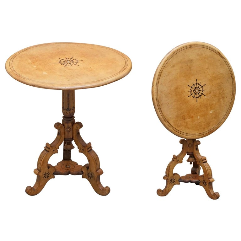 Victorian Sycamore Wood Mother of Pearl Inlay Round Tilt-Top Occasional Table For Sale