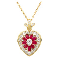 Victorian Synthetic Ruby 4.55 Carat Diamonds Gold Pendant Locket