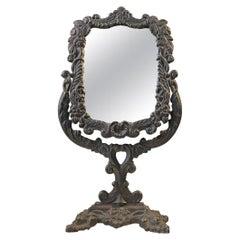 Victorian Table Mirror, Make-Up in Cast Iron, circa 1900