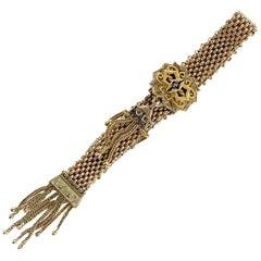 Victorian Tassel Enamel Slide Bracelet 9 Karat Yellow Gold