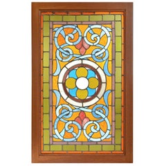 Victorian Teal and Amber Stained Glass Window with Rondelles