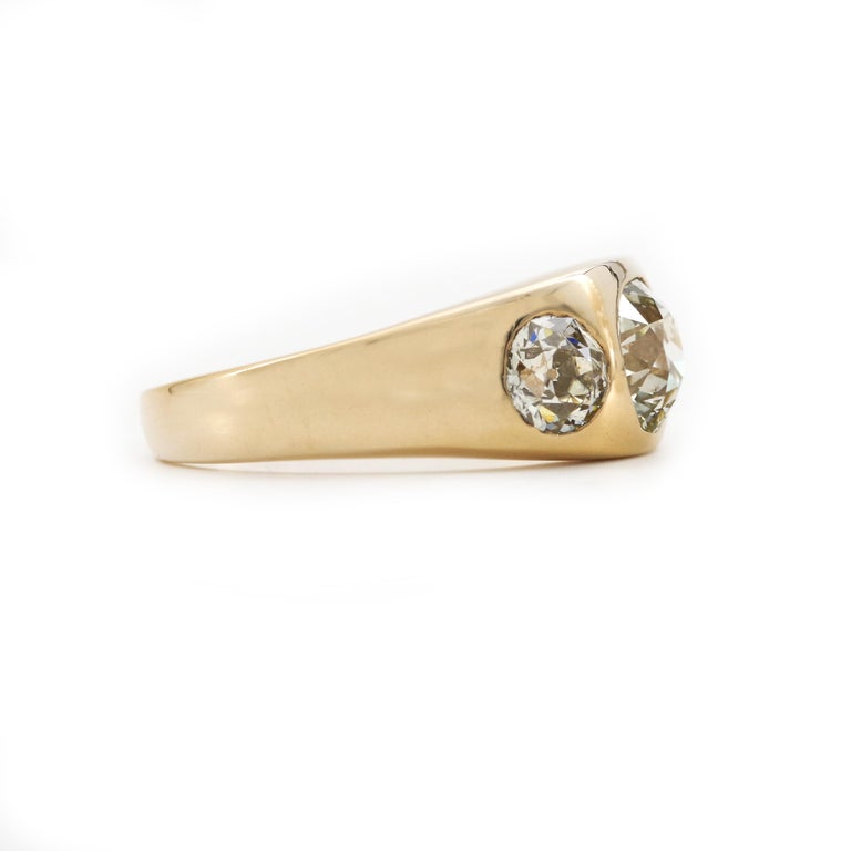 Men's 3 Carat Diamond Ring from Victorian Era Is Fusion of Fire And Class For Sale 6