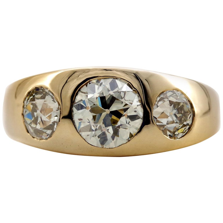 Men's 3 Carat Diamond Ring from Victorian Era Is Fusion of Fire And Class For Sale