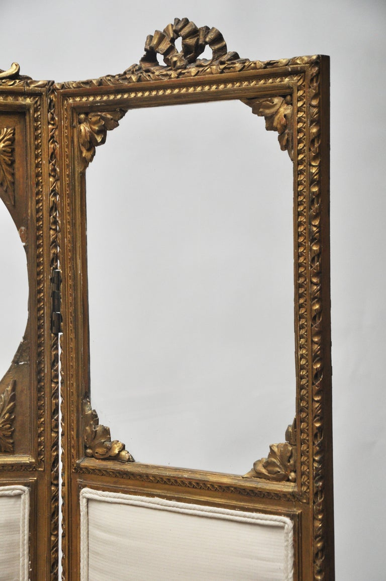 Carved Victorian Three-Panel Upholstered Screen For Sale
