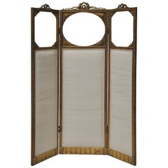 Victorian Three-Panel Upholstered Screen