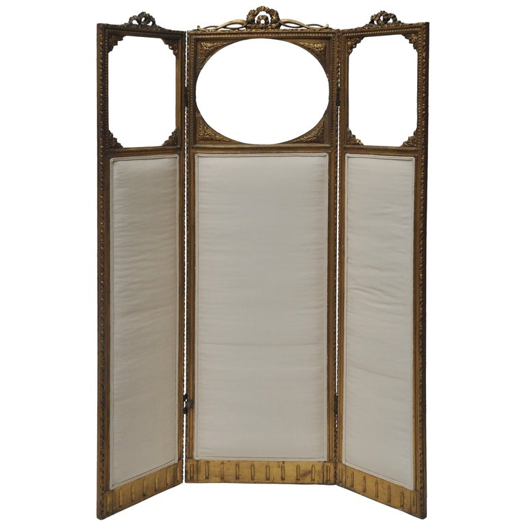 Victorian Three-Panel Upholstered Screen For Sale