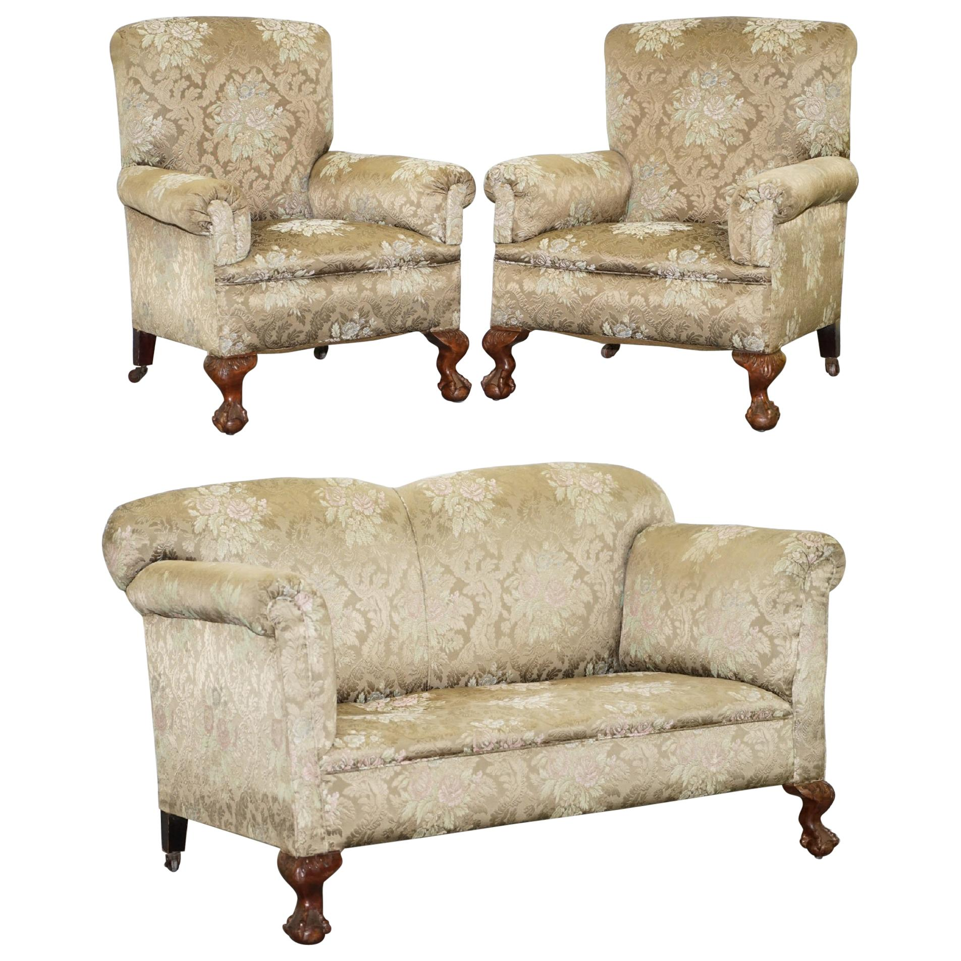 Victorian Three Piece Suite Drop Arm Sofa & Pair of Armchairs Claw and Ball Feet